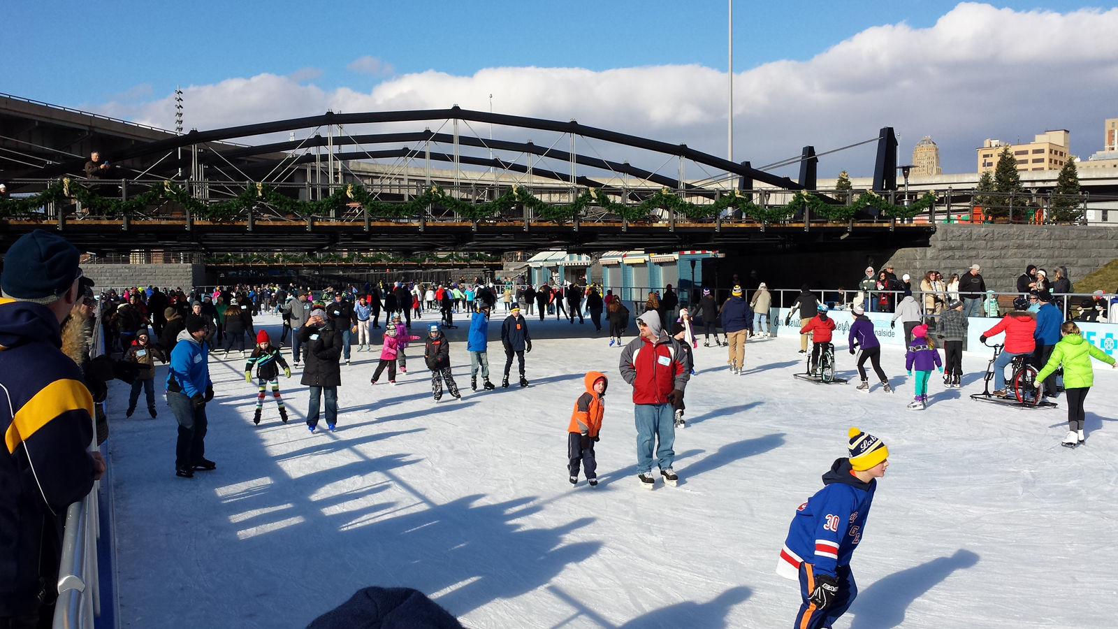 The rink at Canalside is like a day at the beach on a sunny day in Buffalo. Skaters were deterred by the long or the chilly windy.