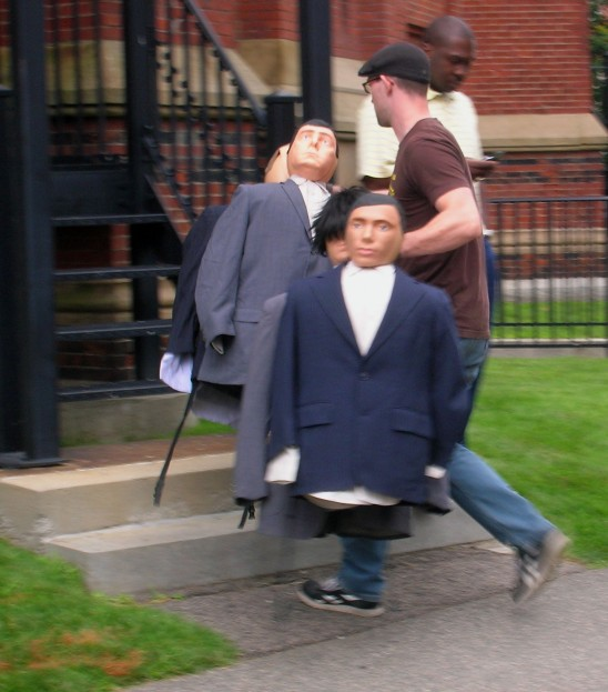 """Dummies answer the call to play their part during filming of """"The Great Debaters"""" at Harvard. Craigslegz.com"""