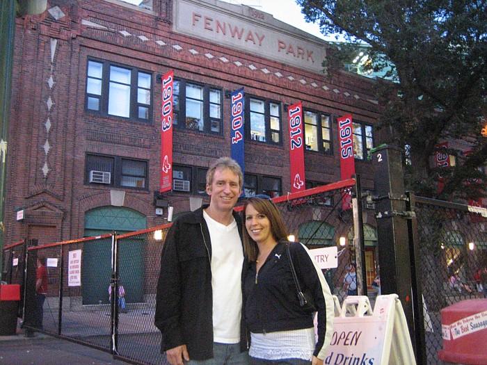 Craig and Allison Davis outside Fenway Park in July, 2007 during the pilgrimage for baseball and beer. Craigslegz.com