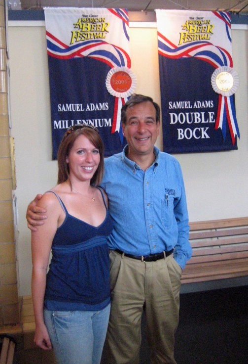 """Samuel Adams Brewery founder Jim Koch poses with Allison Davis after the tour. """"I just work here,"""" he said. Craigslegz.com"""