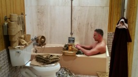 Performance art in the bathroom of the Oscar Mayer house. (Craig Davis/Craigslegz.com)