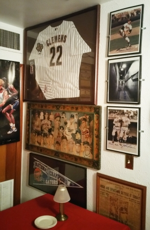 Former pitcher Roger Clemens' jersey is displayed in the 4th Base Restaurant. (Craig Davis/Craigslegz.com)