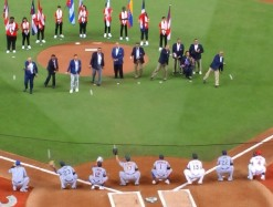 Eight Latin hall of famers were honored during the pregame ceremony in Miami, including four who were on the All-Star rosters in 1963. (Craig Davis/Craigslegz.com)